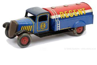"""Wells (UK) tinplate clockwork """"Regent"""" Tanker"""