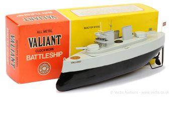 "Sutcliffe Models ""Valiant"" tinplate clockwork Battleship"