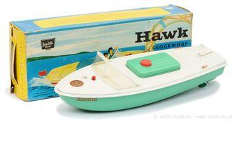 "Sutcliffe Models ""Hawk"" tinplate clockwork Speedboat"