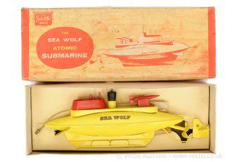 "Sutcliffe Models ""Sea Wolf"" tinplate clockwork Submarine"