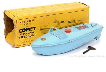 """Sutcliffe Models """"Comet"""" tinplate clockwork Speedboat"""