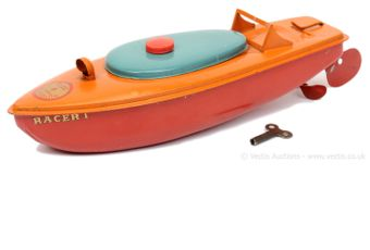 "Sutcliffe Models ""Racer I"" tinplate clockwork Speedboat"