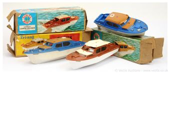 """Triang and Scalex, a group of 14""""/35cm Cabin Cruisers"""