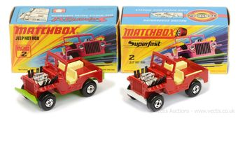 Matchbox Superfast 2 x 2b Jeep Hot Rod - both are red body