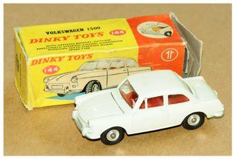 Dinky 144 Volkswagen 1500 - cream body, red interior