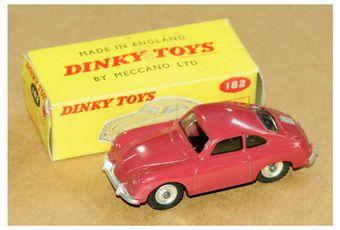 Dinky 182 Porsche 356A in drab red body, silver trim
