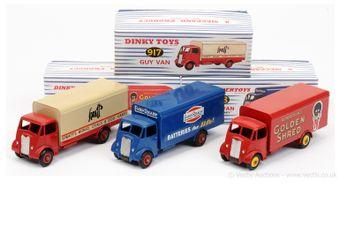 Dinky Guy Vans group of 3 (restored/repainted) - (1) 917