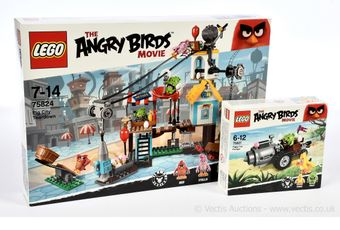 Lego The Angry Birds Movie sets x two numbers 75824 Pig City