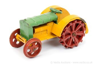 Dinky pre-war 22 Series Tractor - yellow, green