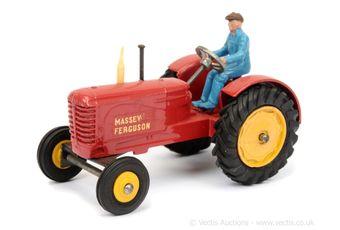 Dinky 301 Massey Ferguson Tractor - red, yellow hubs