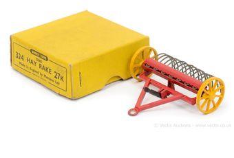 Dinky 27k (324) Hay Rake - red, yellow metal wheels