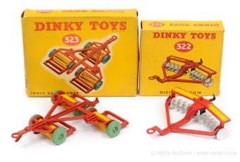 Dinky 322 Disc Harrow - red, yellow, metal tow hook