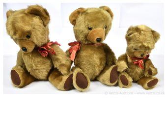 Pedigree golden plush vintage teddy bears x three