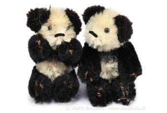 Schuco Talisman pair of vintage panda bears, German