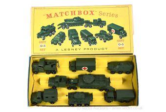 Matchbox Regular Wheels G-5 Military vehicles gift set containing
